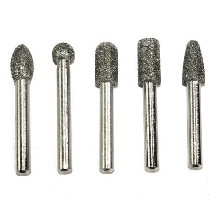 Big Horn 19391 5PC Diamond Burr Set - 1/4 Inch Shank, 50 Grit - Coarse