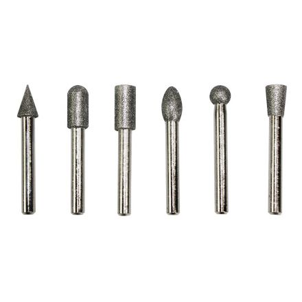 Big Horn 19392 6 PC Diamond Burr Set - 1/4 Inch Shank, 80 Grit - Medium